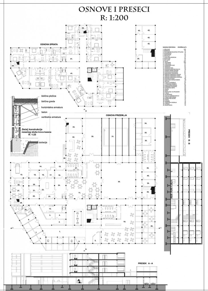 FLORPLANS AND SECTIONS OF HOTEL